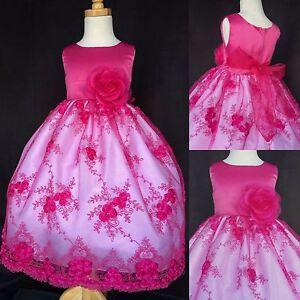 Flower Girl Bridesmaids Bridal Summer Easter Embroidery Communion Dress #011