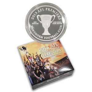 Australia-2013-AFL-Premiership-Hawthorn-Football-1-1oz-Silver-Proof-Coin-RAM