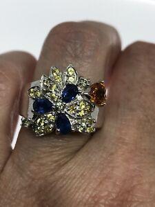 Vintage-saphir-bleu-Ring-925-Sterling-Silver-Citrine-Taille-5