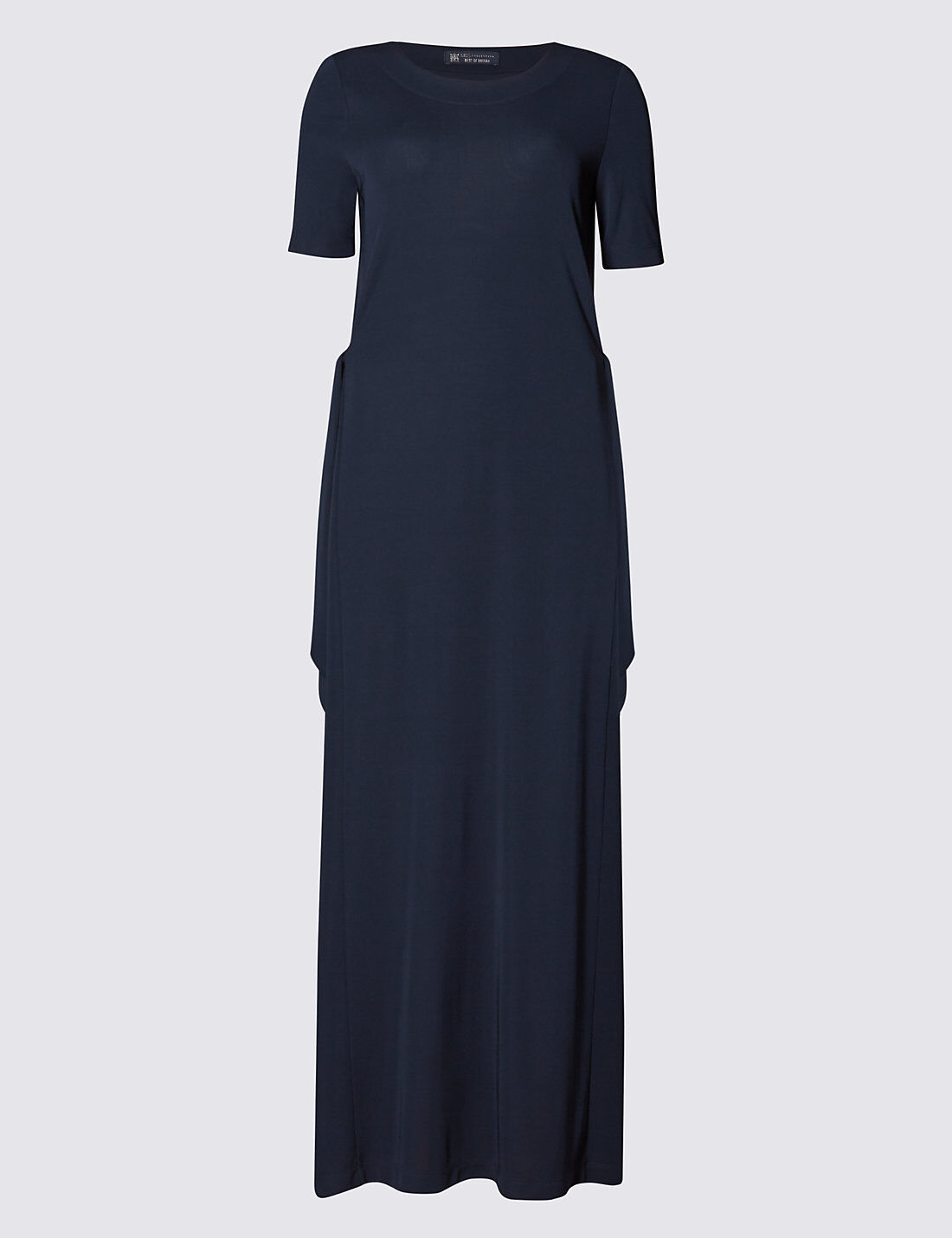 New M&S Best Of British Navy Crepe Maxi Dress Sz