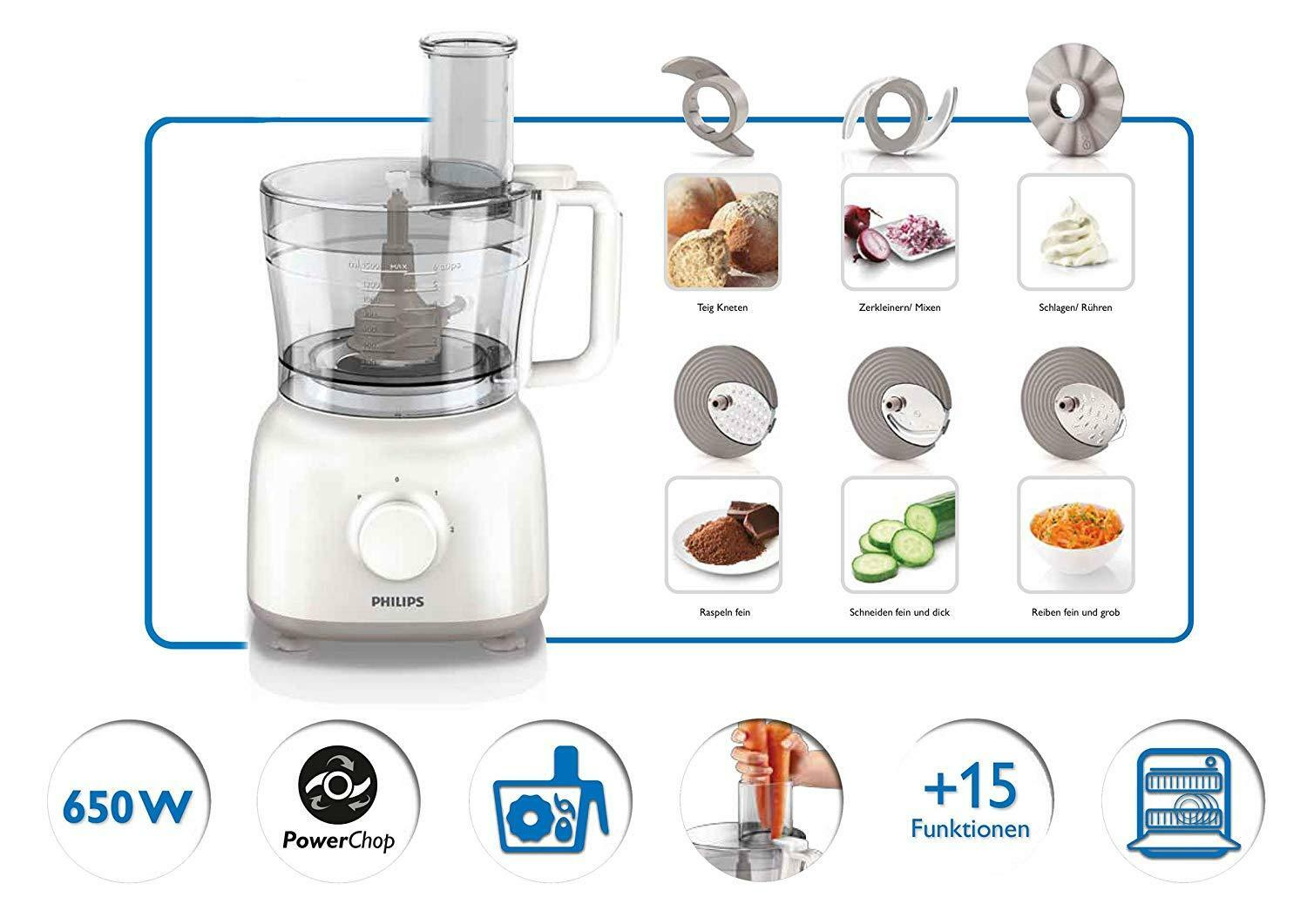 Food Processor Daily Collection Philips HR7627 02 650 W 2.1 L Genuine blanc Co