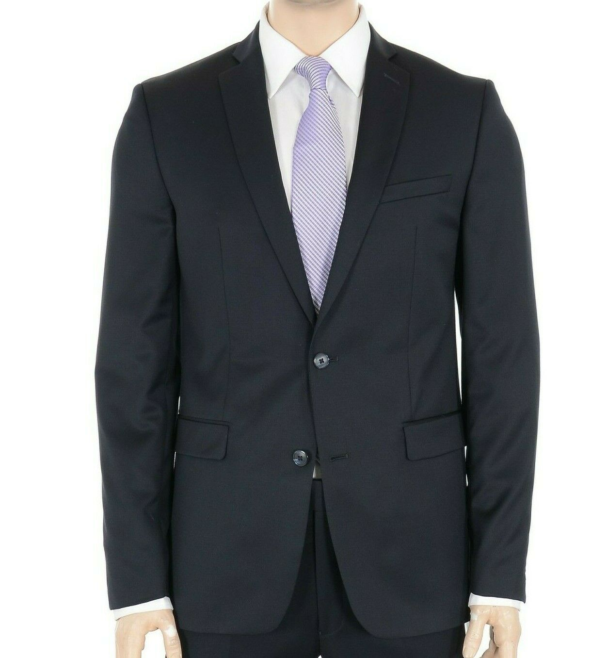 Bar III Extra Slim Fit Solid navy bluee Two Button 100% Wool Blazer Sportcoat