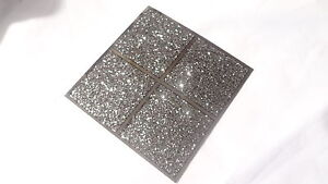 Image Is Loading 10CM GLITTER BLACK SILVER MIRROR MOSAIC TILE STICKERS
