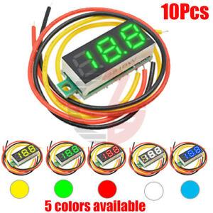 10PCS-Mini-DC-0-100V-0-28Inch-3-Digital-Voltmeter-LED-Voltage-Panel-Meter-3-Wire