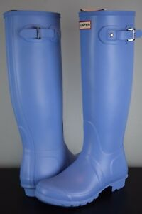 7fe51bb69d7 Details about NIB! Womens HUNTER Boots Original TALL Forget Me Not sz 8 US  Blue rubber