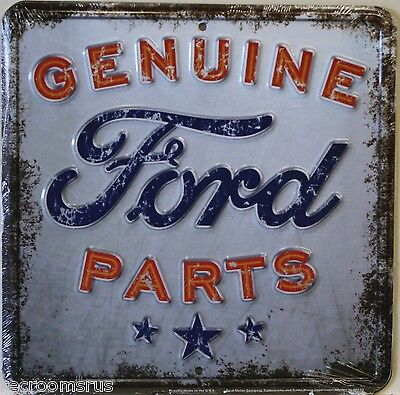 FORD GENUINE  PARTS DISTRESSED WEATHERED  LOOKING METAL SIGN MUSTANG TRUCK