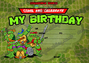 Teenage Mutant Ninja Turtles Birthday Invitation Tmnt Party Invites