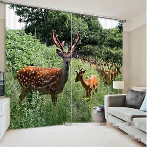 Hierba de ciervos 3D 03 Cortinas de impresión de cortina de foto Blockout Tela Cortinas Ventana Reino Unido