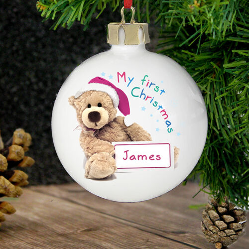 Personalised My 1st Christmas Bauble Ceramic Decoration Baby New Born Gift Teddy