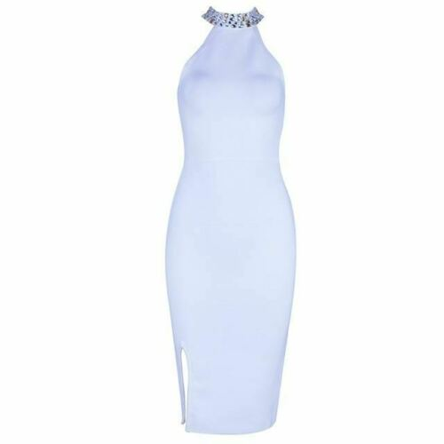 Women Bandage Evening Party Sleeveless Split Halter Diamonds Black Dress