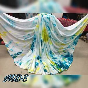 4602149afa Image is loading White-Indian-Bollywood-Style-Printed-Satin-Silk-Saree-