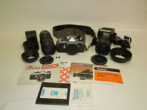 PENTAX-ASAHI-ME-35mm-Camera-w-Vivitar-80-205mm-Auto-Zoom-amp-28mm-Auto-Lens-Flash