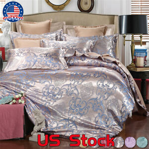 Silky-4-Pcs-Set-Stain-Queen-Jacquard-King-Bedding-Wedding-Home-Quilt-Cover-US
