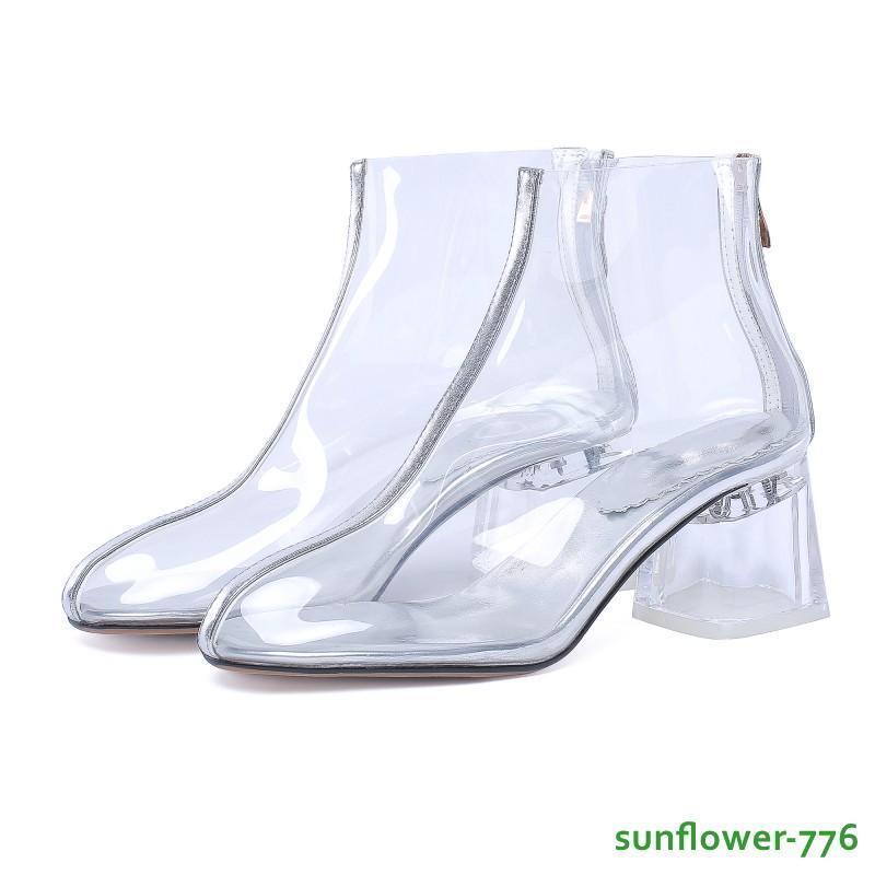 Ladies Womens Clear HIgh Block Block Block Heel Back Zip PVC Ankle Boots Party shoes 34-43 416d8c
