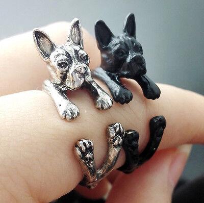 Boston Terrier Ring Pet Antique Silver Animal Gift Wrap Adjustable Ring