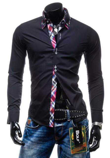 BOLF 4704 Herren Hemd Freizeit Langarm Slim Fit Men Wear Casual Hemd 2B2 Shirt