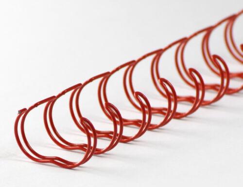 2:1 Teilung rot 1//2 Zoll Drahtbinderücken 23 Ringe 12,7mm
