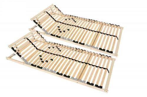 2 x Lattenrost 90x200 cm 7-Zonen Kopfteil Härtegrad verstellbar 28 Leisten Mitte