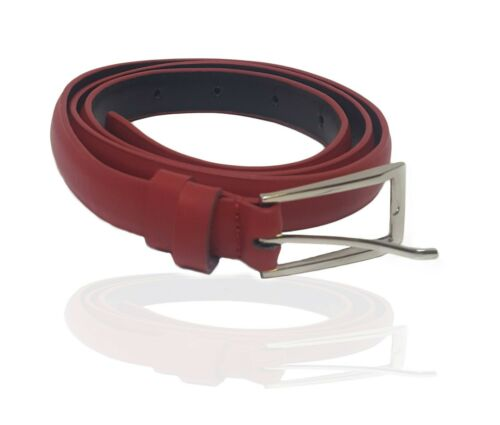 Luxury Genuine Red Leather Buckle Belt Casual Dress Womens Waistband Waist Strap