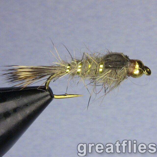 12 BLACK - Gold Ribbed Hare/'s Ear Bead Head 1 dozen