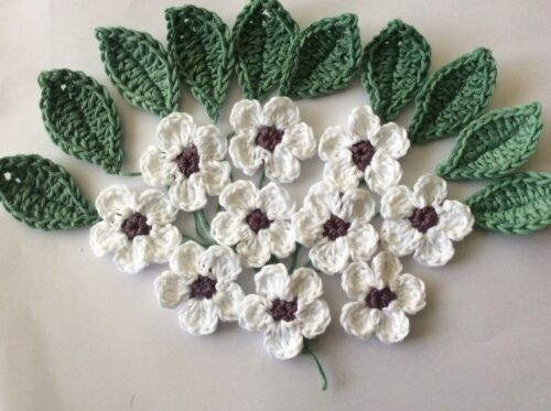 scrapbook crochet flowers /& leaves craft cardmaking set of 20 embellishments