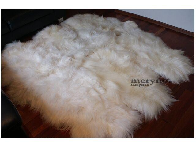 Véritable Blanc Islandais Laine Sexto 6 en Peau De Mouton Tapis Doux Laine Islandais 9b3892