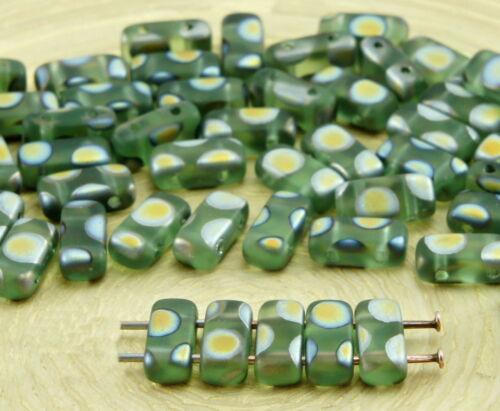40pcs Matte Crystal Flat Bricks Rectangle Bar 2 Two Hole Czech Glass Beads 8m...