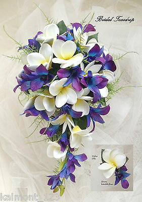 "Teardrop Bridial Bouquet - Franipani & Blue Purple orchids ""Real Touch"" Set"