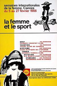 Original-Vintage-Poster-La-Femme-Et-Le-Sport-1966-French-Cannes-Women