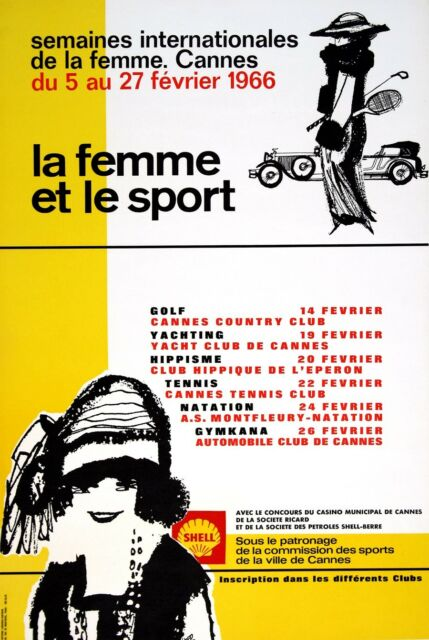 Original Vintage Poster La Femme Et Le Sport 1966 French Cannes Women