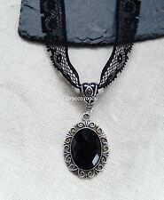 Black Lace Choker/Necklace with Glass Cabochon Pendant Gothic/Retro/Classic UK