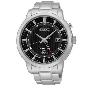 Seiko-Kinetic-GMT-SUN033-P1-Silver-Black-Dial-Automatic-Men-039-s-Analog-Dress-Watch