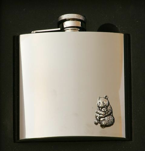 Panda Design Stainless Steel Hip Flask Gift Boxed New
