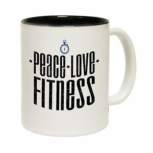 Peace-Love-Tea-Coffee-Mug-Novelty-Trainer-Joke-Humour-Gym-funny-birthday-gift