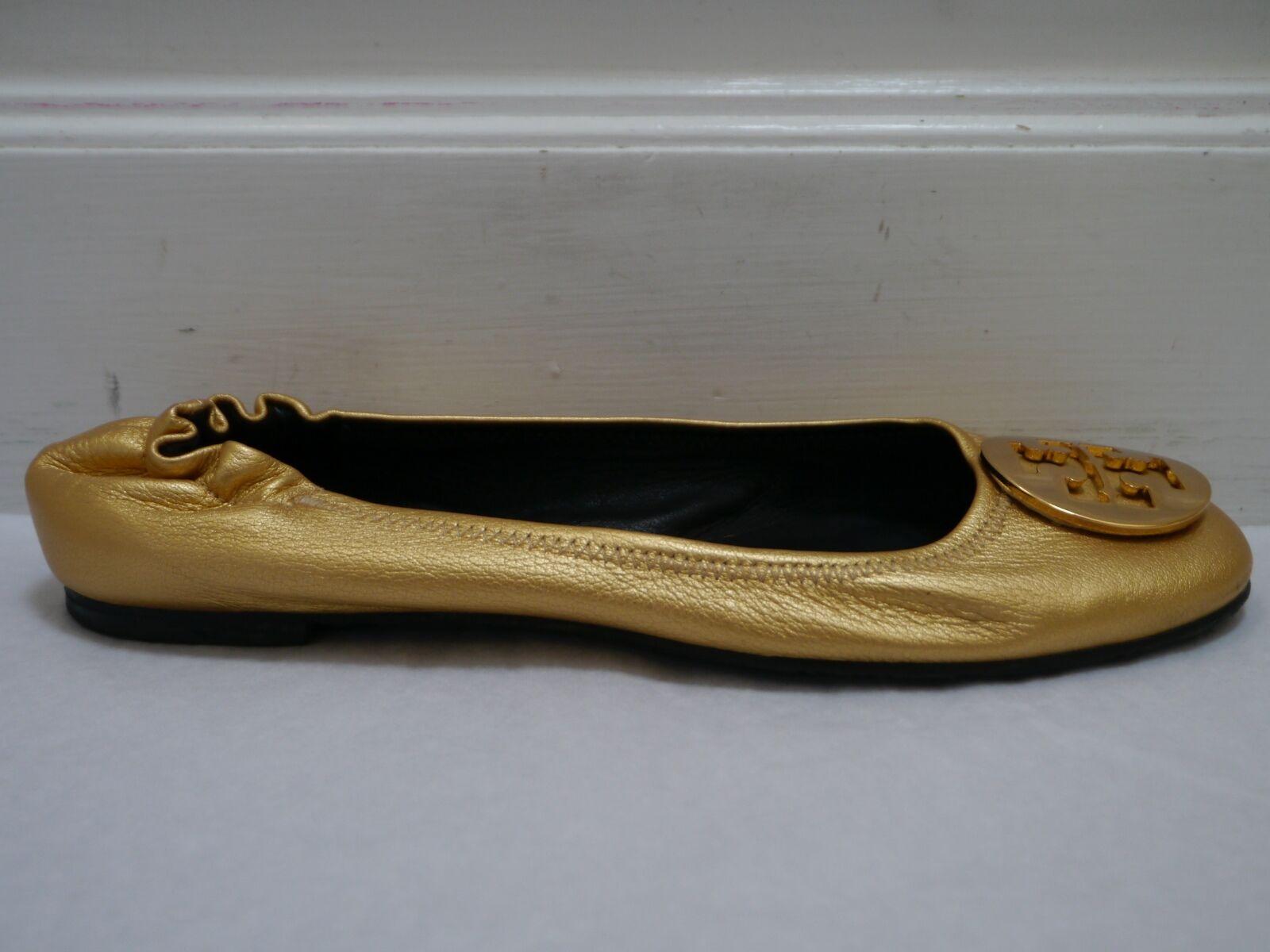 TORY BURCH Reva gold leather logo detail detail detail ballet flats shoes size 8.5 5bbb54