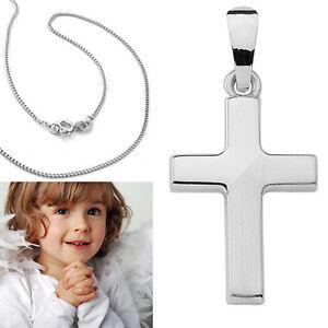 Baby Taufe Kinder Kommunion Kette Kreuz Anhänger Jesus Korpus Echt Silber 925