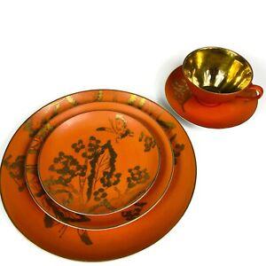 Set-of-4-Dorothy-Thorpe-Persimmon-Orange-Gold-Dinnerware-5-Pieces-VTG-1960s