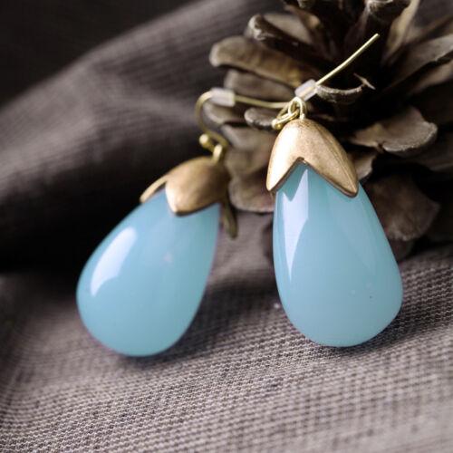 Ohrringe golden groß Tropf blau Hell Retro Class BB15