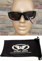 Global Vision Sly Motorcycle Padded Riding Glasses Smoke Lenses Plus Pouch