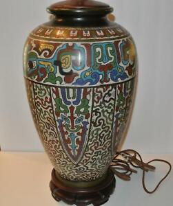 Large-31-034-ANTIQUE-CLOISSONE-CHAMPLEVE-ENAMEL-Brass-Wood-Table-Lamp-ESTATE-FIND