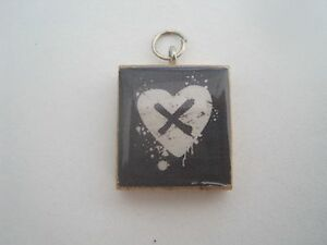 Dark heart scrabble tile pendant with free necklace ebay image is loading dark heart scrabble tile pendant with free necklace mozeypictures Images
