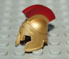LeGo Metallic Gold Minifig Headgear Helmet Spartan Warrior w/ Dark Red Crest NEW