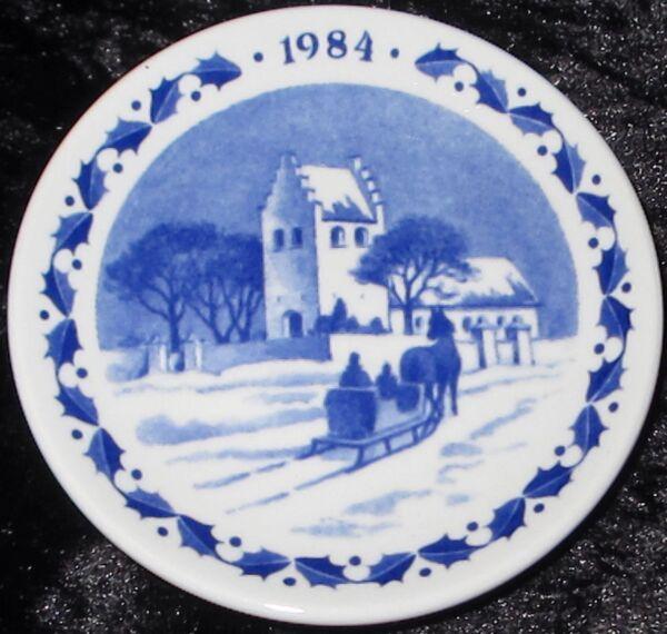 1984 Royal Copenhagen Fayence Mini Weihnachtsteller / Christmas Plaquette