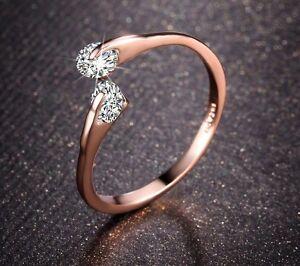 Edel Damen V-Ring Gold 18K pl Kristall Verlobungsring Geschenk !!!