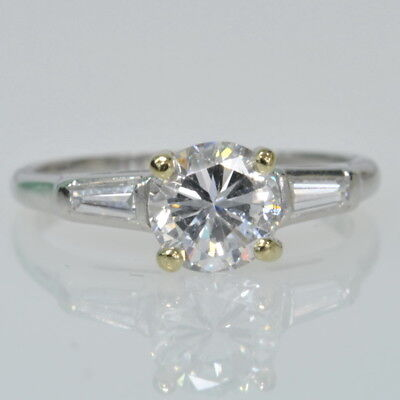 Platinum 1ctw Round Brilliant Tapered Baguette Solitaire Diamond Engagement Ring Ebay