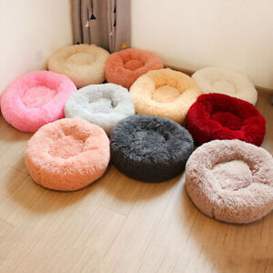 Dog-Pet-Cat-Calming-Bed-Nest-Large-Mat-Comfy-Puppy-Fluffy-Donut-Cushion-Plush