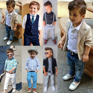 fb4961c8b Image is loading Toddler-Baby-Boys-Kids-Gentleman-Shirts-Tops-Suspender-