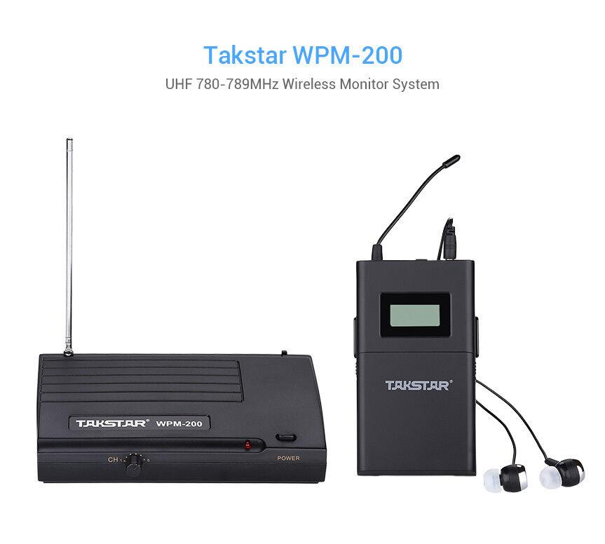 Takstar WPM-200 UHF Wireless Wireless Wireless Monitor de sistema 50 M In-Ear Stereo Headset + Receptor 3d7353