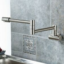 """18"""" Modern Retractable Double Joint Spout Wall Mount Pot Filler Polished"""