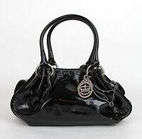 Juicy Couture Black Patent Leather Fluffy Handbag W/mirror Yhru1923 001